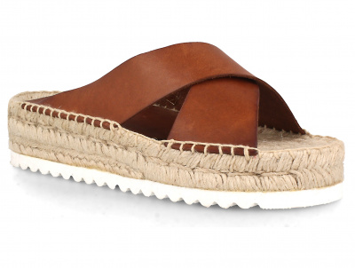 Женские шлепанцы Las Espadrillas Camel E8212-45 Made in Spain